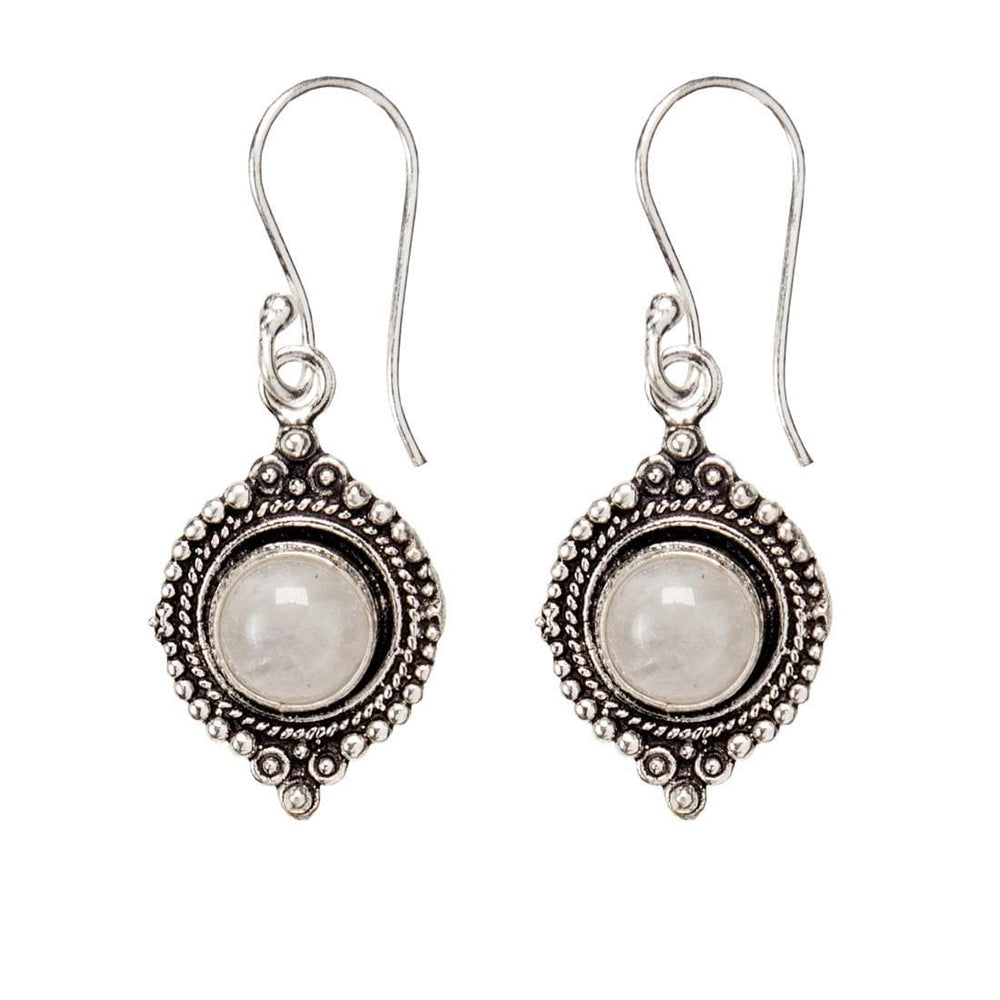 Load image into Gallery viewer, Silver Brass Round Moonstone Gemstone Earrings
