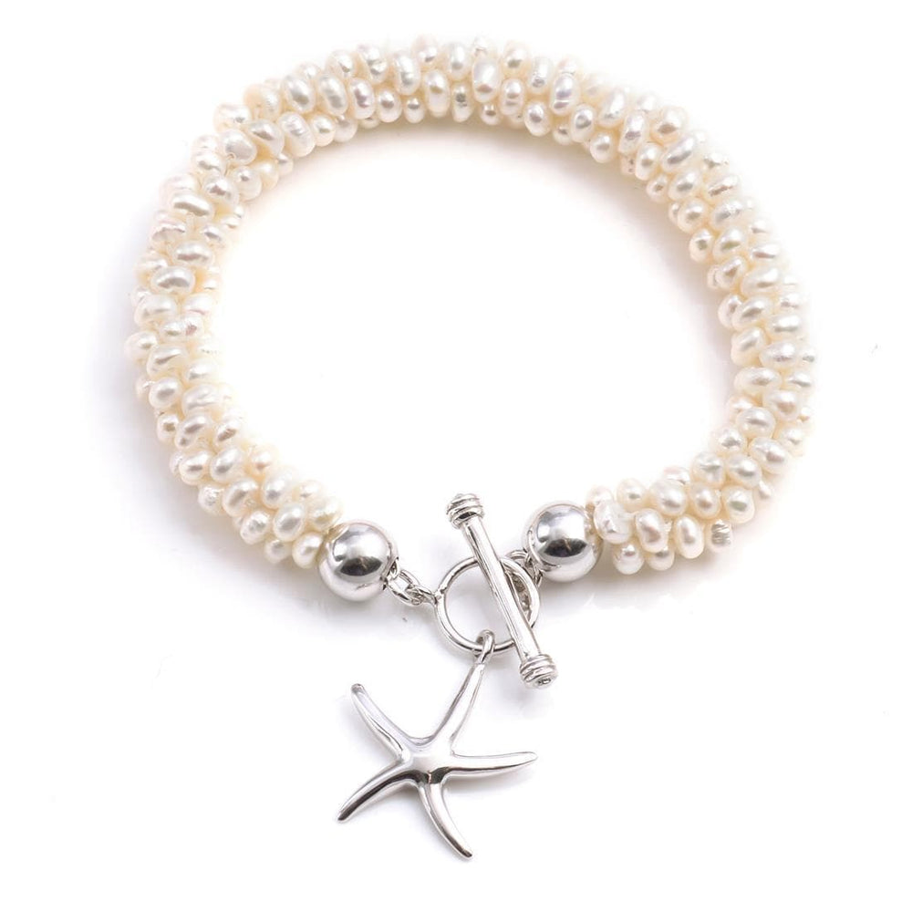 Sterling Silver Baroque Cultured Pearl Starfish Bracelet - 81stgeneration