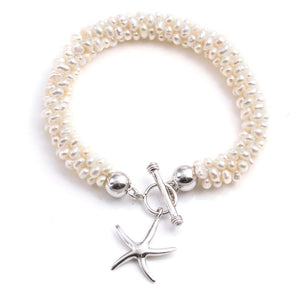 Sterling Silver Baroque Cultured Pearl Starfish Bracelet