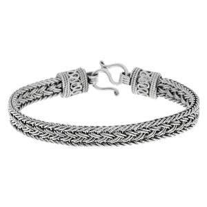 Load image into Gallery viewer, Sterling Silver Balinese Snake Wheat Chain Bracelet