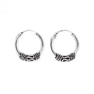 Sterling Silver Bali Hoop Earrings - 81stgeneration