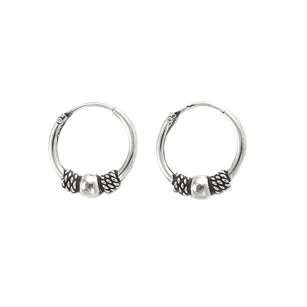Sterling Silver Bali Ball Hoop Earrings