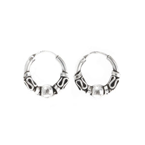 Sterling Silver Bali 14 mm Hoop Earrings - 81stgeneration