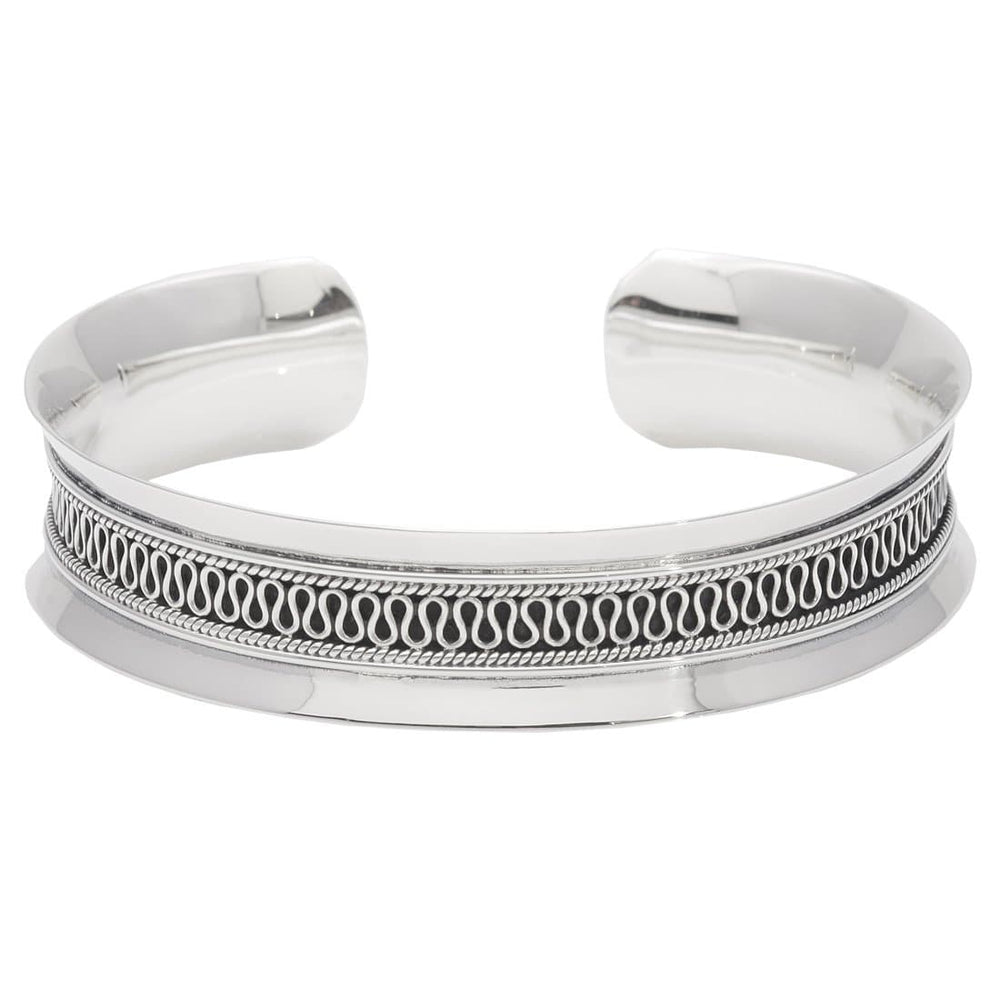 Load image into Gallery viewer, Sterling Silver Balinese Concave Cuff Bracelet