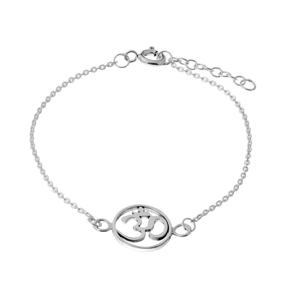 Load image into Gallery viewer, Sterling Silver Round Om Aum Bracelet