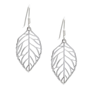 Sterling Silver Filigree Leaf Earrings