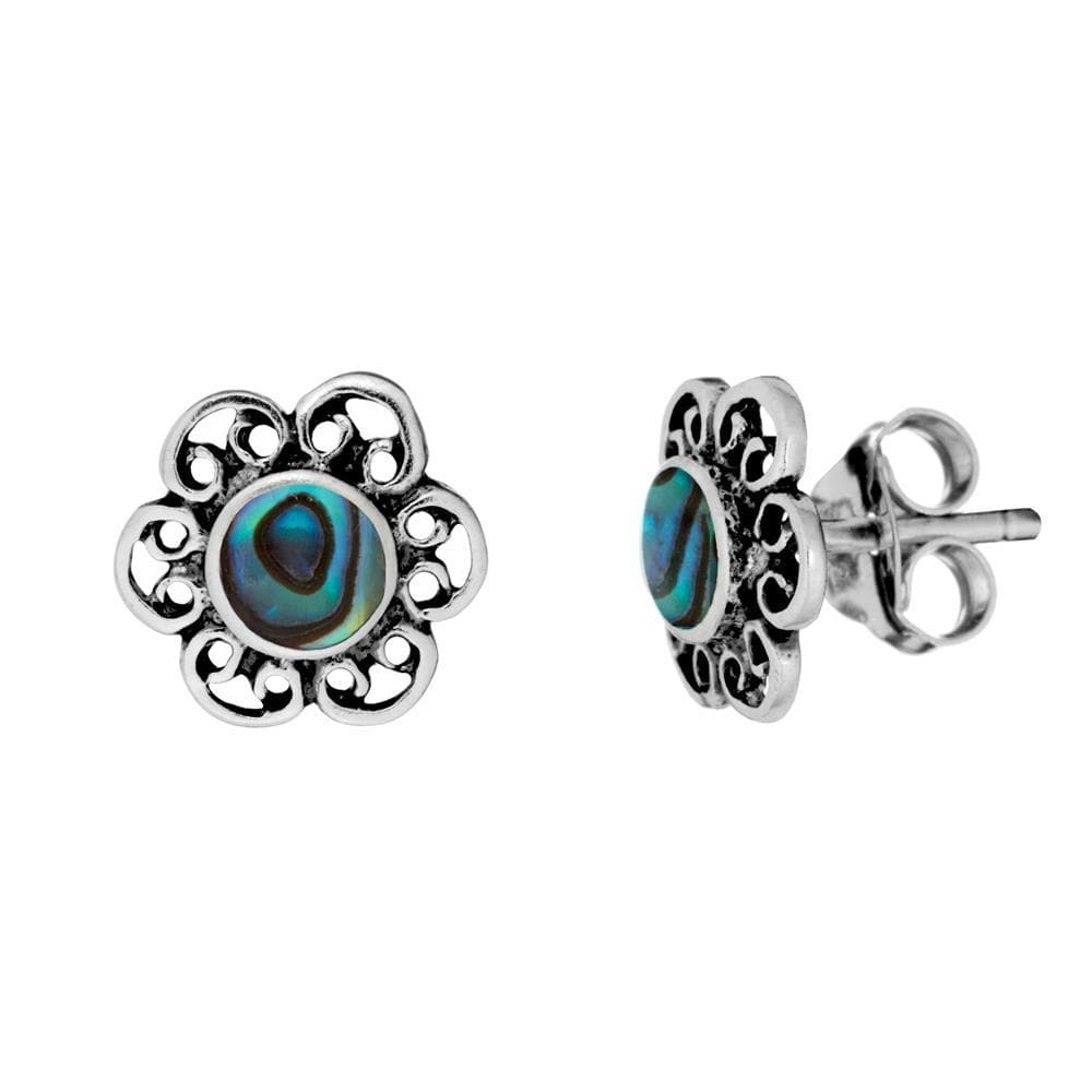 Sterling Silver Abalone Filigree Flower Stud Earrings