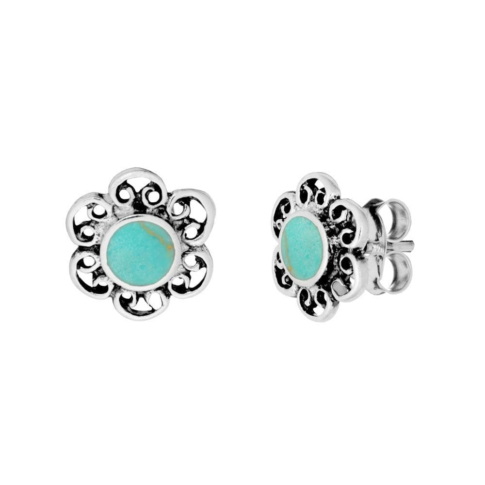 Load image into Gallery viewer, Sterling Silver Turquoise Filigree Flower Stud Earrings