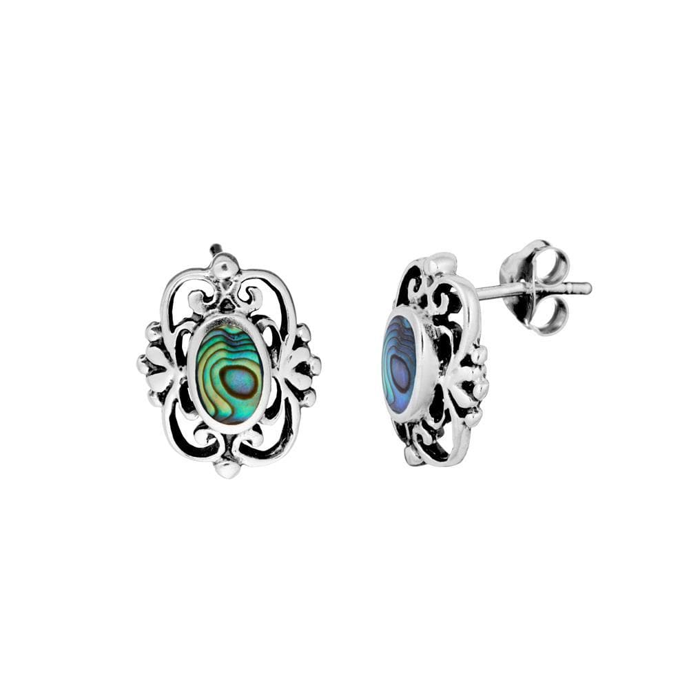 Sterling Silver Abalone Filigree Stud Earrings