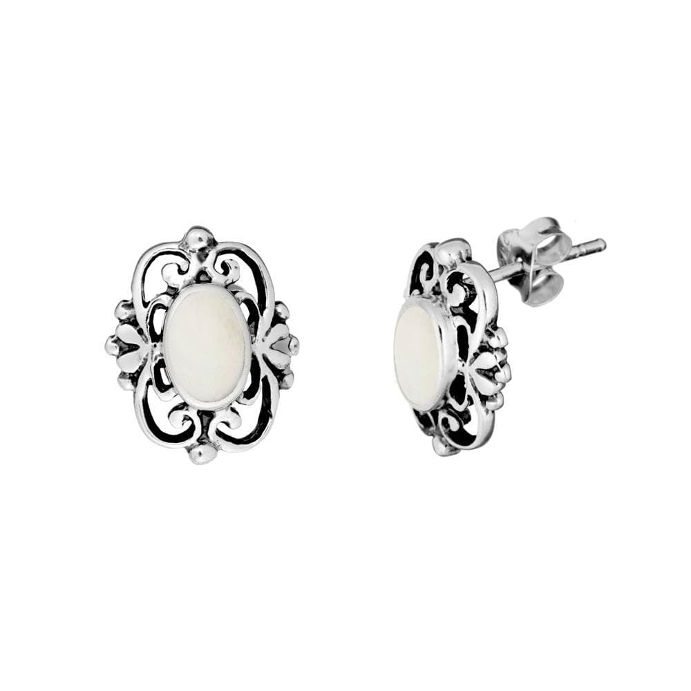 Sterling Silver Mother of Pearl Filigree Stud Earrings