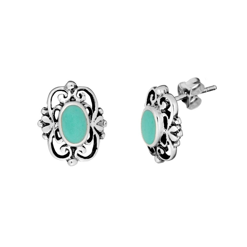 Sterling Silver Turquoise Filigree Stud Earrings