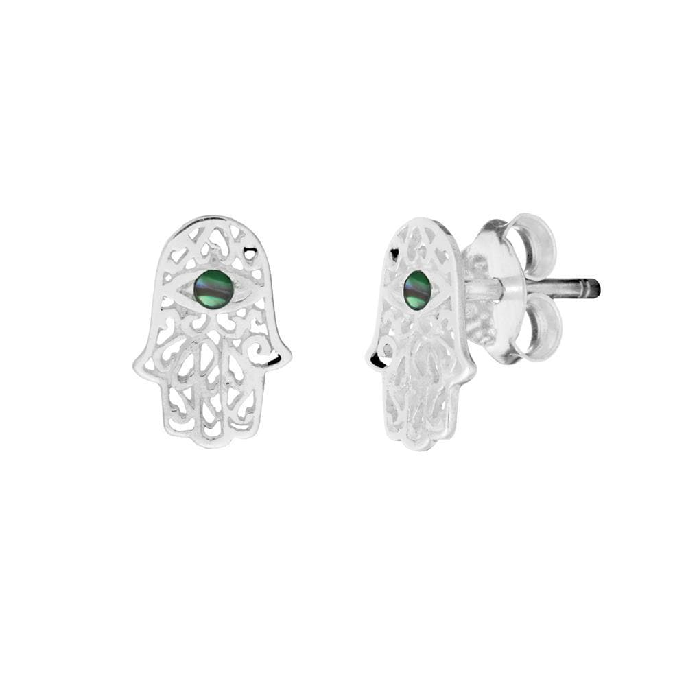 Load image into Gallery viewer, Sterling Silver Abalone Filigree Fatima Hand Stud Earrings