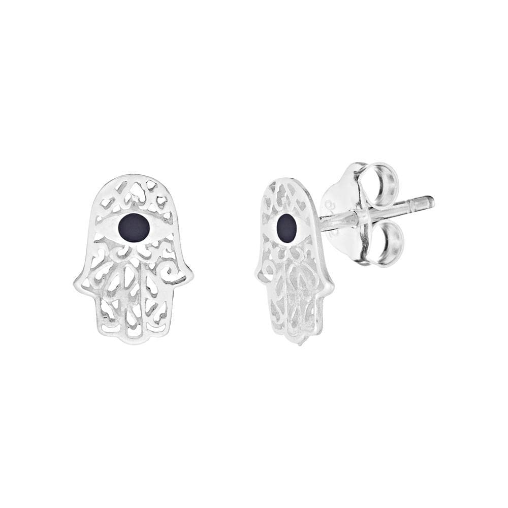 Sterling Silver Onyx Filigree Fatima Hand Stud Earrings