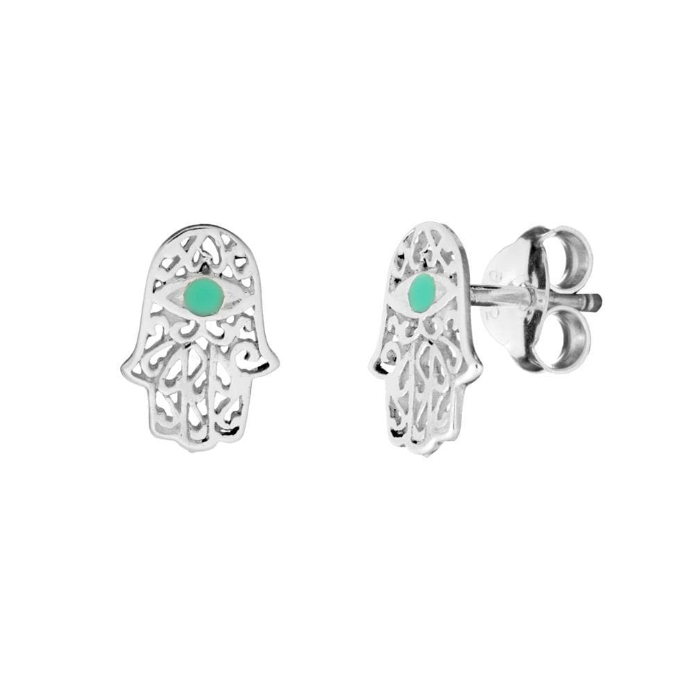 Sterling Silver Turquoise Filigree Fatima Hand Stud Earrings