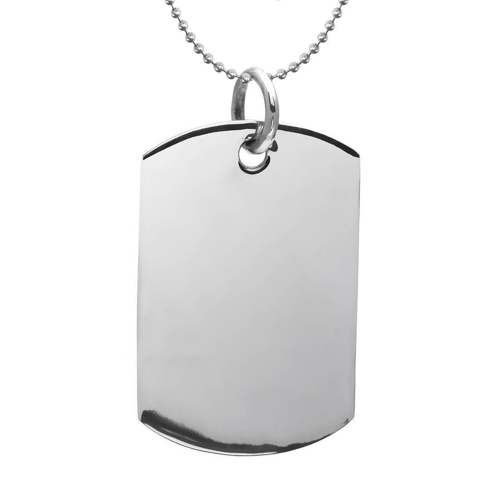 Sterling Silver Large Military Dog Tag Pendant Necklace