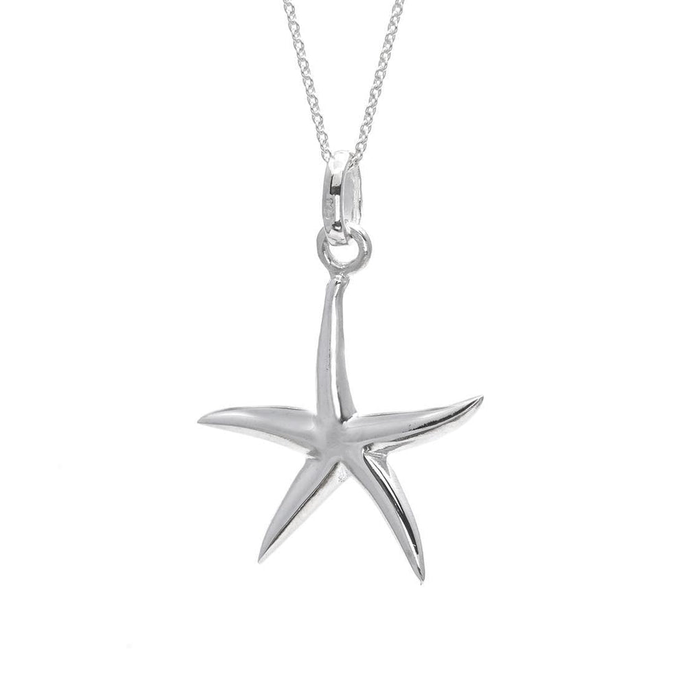 Load image into Gallery viewer, Sterling Silver Starfish Star Pendant Necklace