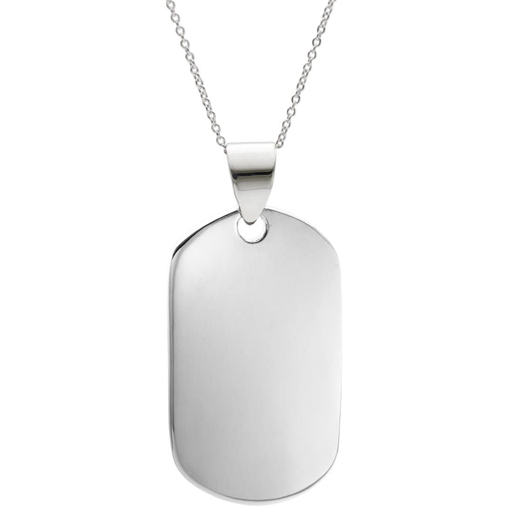 Sterling Silver ID Dog Tag Pendant Pendant Necklace