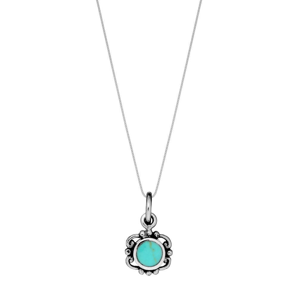 Sterling Silver Turquoise Filigree Pendant Necklace