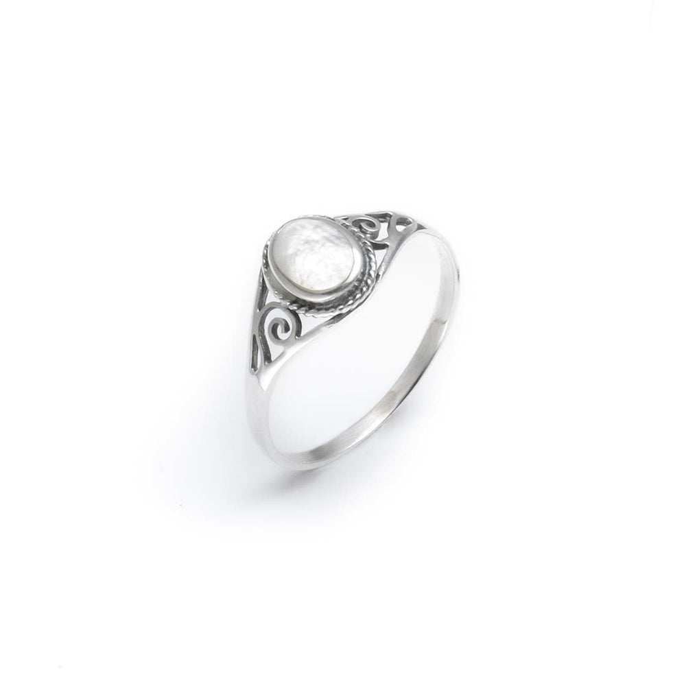 Sterling Silver White Mother of Pearl Shell Cute Ring
