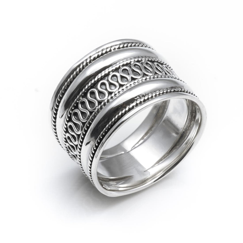 Sterling Silver Rope Scroll Work Bali Thick 15mm Thumb Ring - 81stgeneration