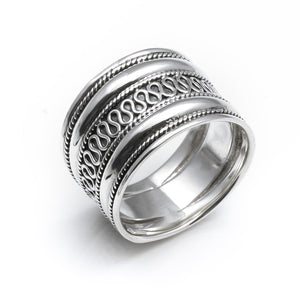 Sterling Silver Rope Scroll Work Bali Thick 15mm Thumb Ring