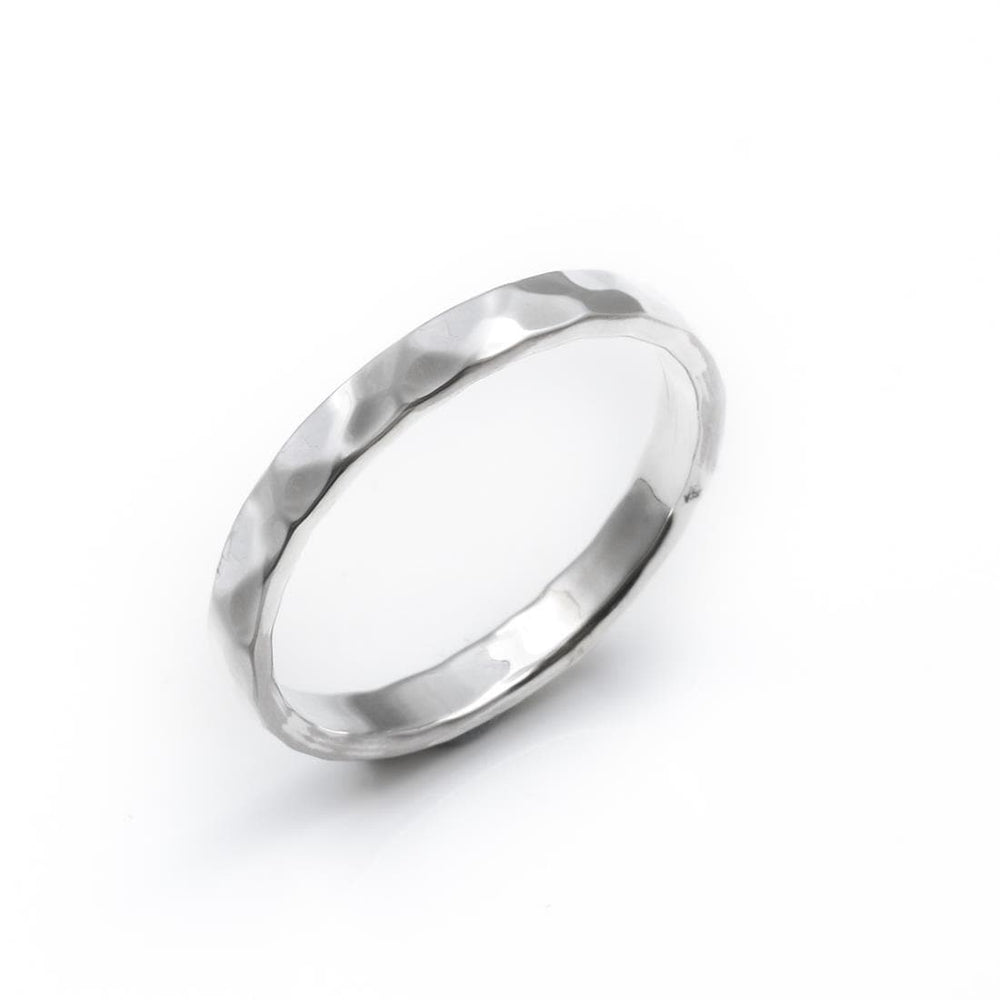 Sterling Silver Hammered Finished 3mm Band Ring