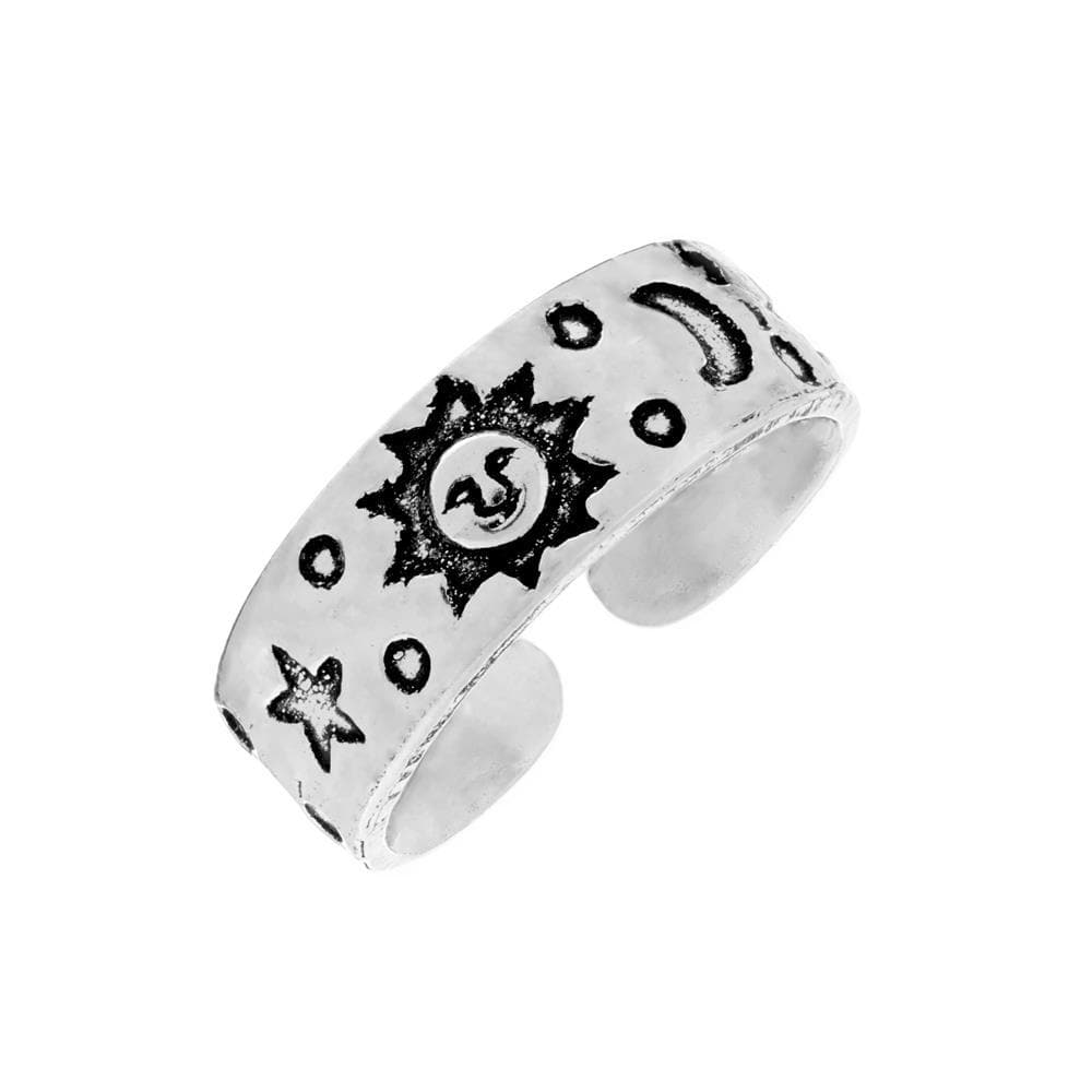 Sterling Silver Sun Moon & Star Pinky-Midi-Toe Adjustable Ring