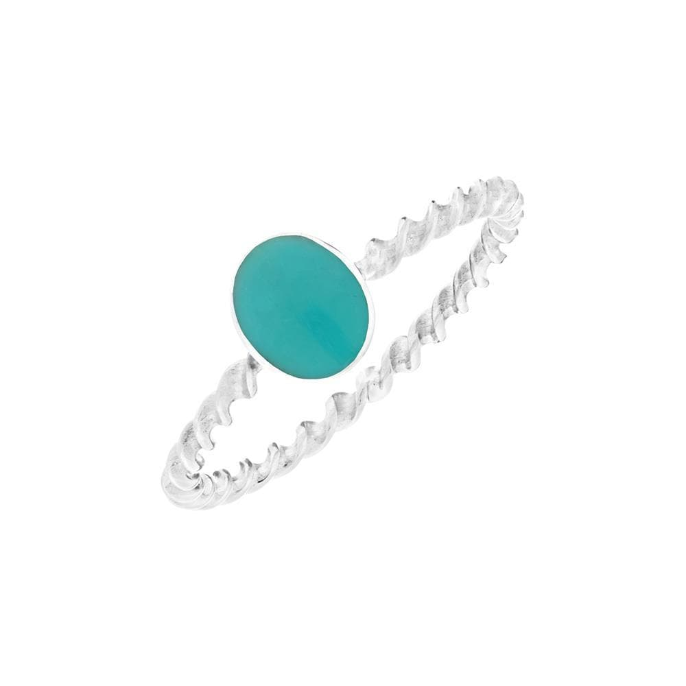 Sterling Silver Oval Turquoise Twisted Band Ring