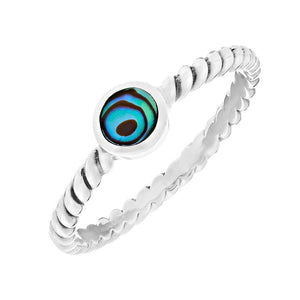 Sterling Silver Abalone Adorned Twisted Band Ring