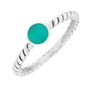 Sterling Silver Turquoise Adorned Twisted Band Ring