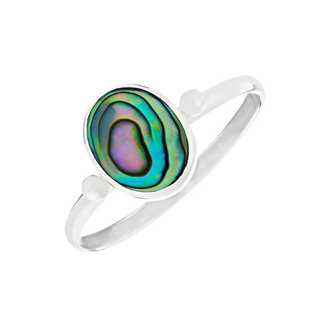 Sterling Silver Oval Abalone Thin Band Ring