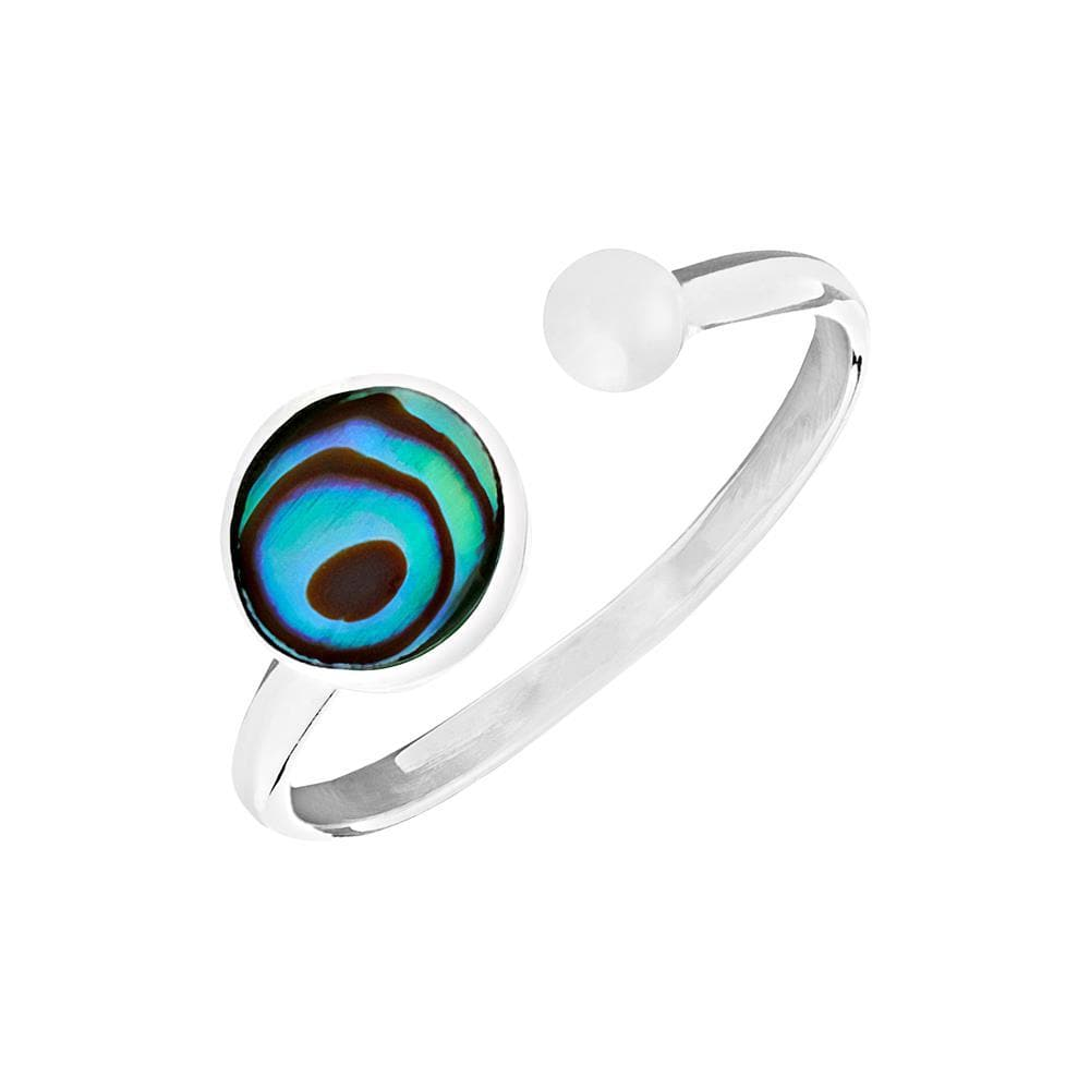 Sterling Silver Round Abalone Open Ring