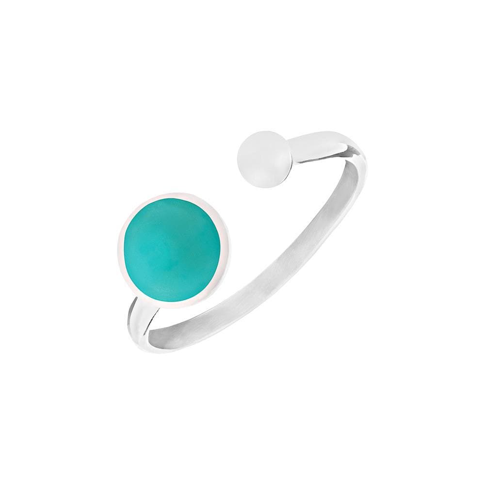 Sterling Silver Round Turquoise Open Ring