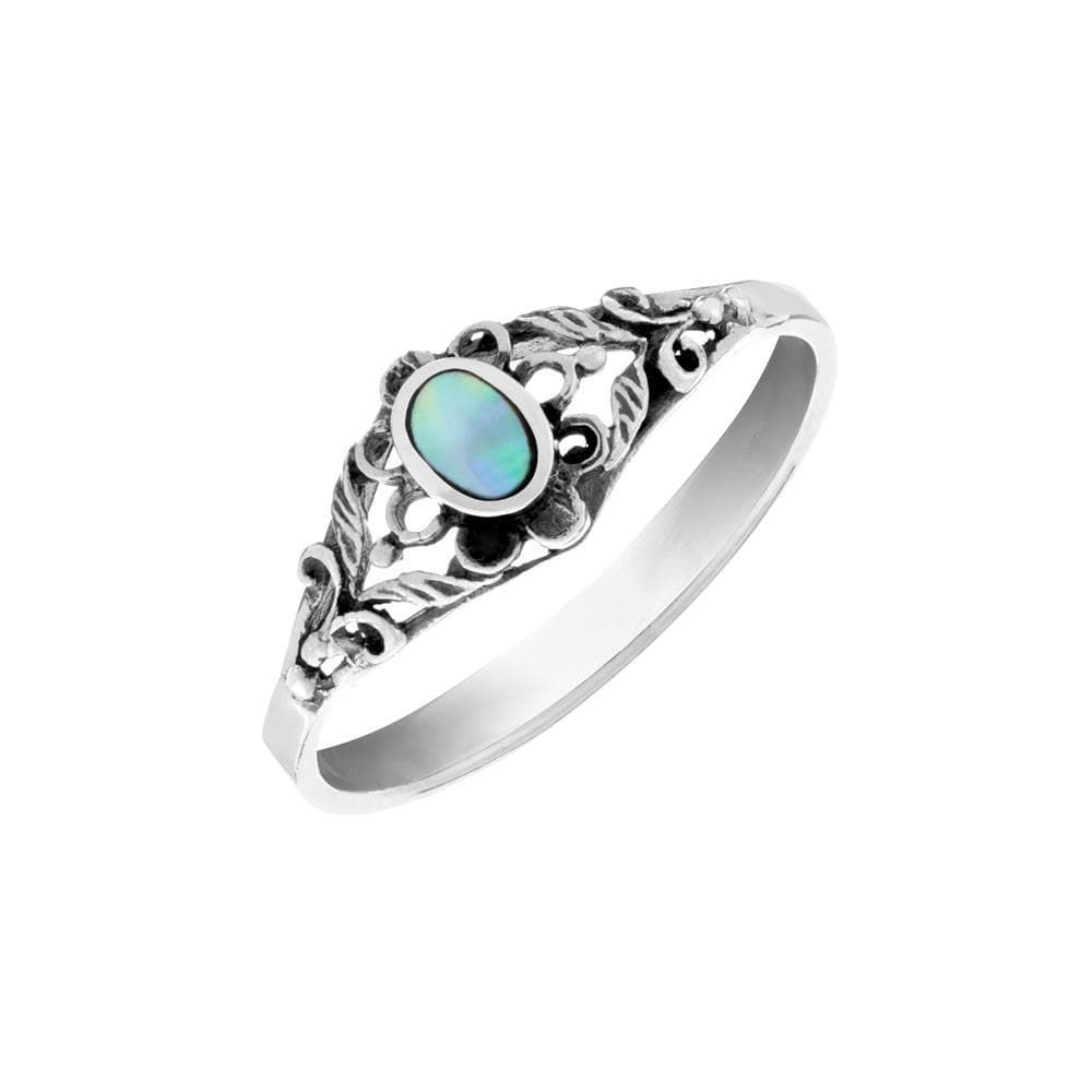 Load image into Gallery viewer, Sterling Silver Abalone Filigree Flower Ring