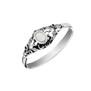Sterling Silver Mother of Pearl Filigree Flower Ring
