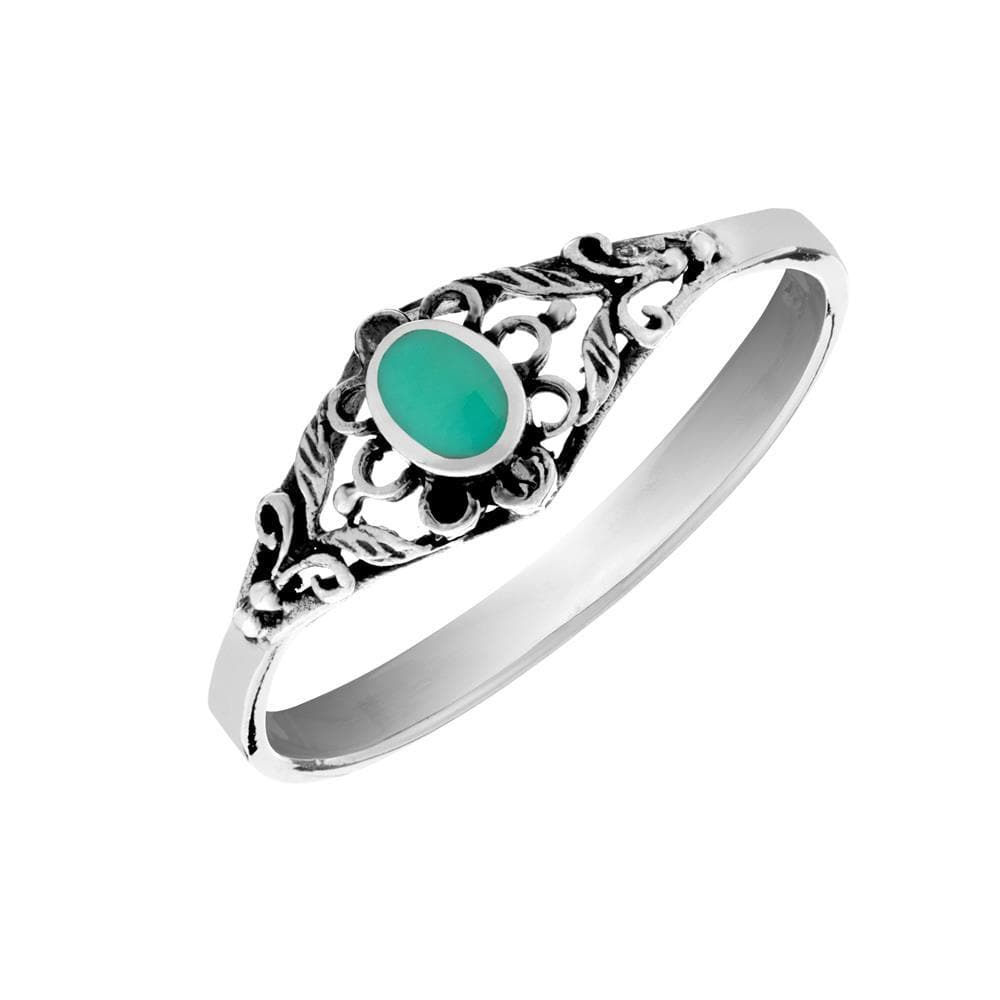Sterling Silver Turquoise Filigree Flower Ring