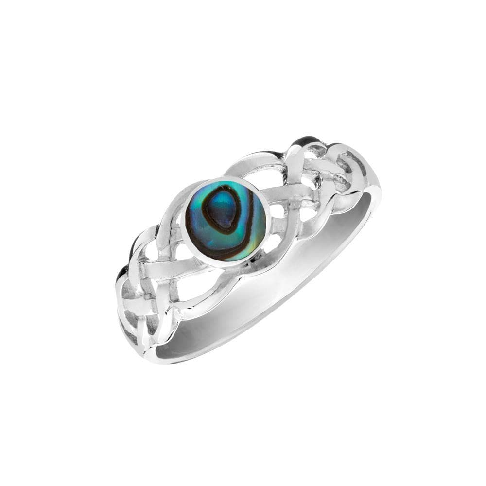 Sterling Silver Abalone Celtic Knot Ring