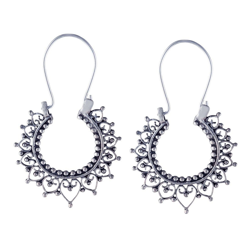 Sterling Silver Indian Filigree Round 27 mm Hoop Earrings