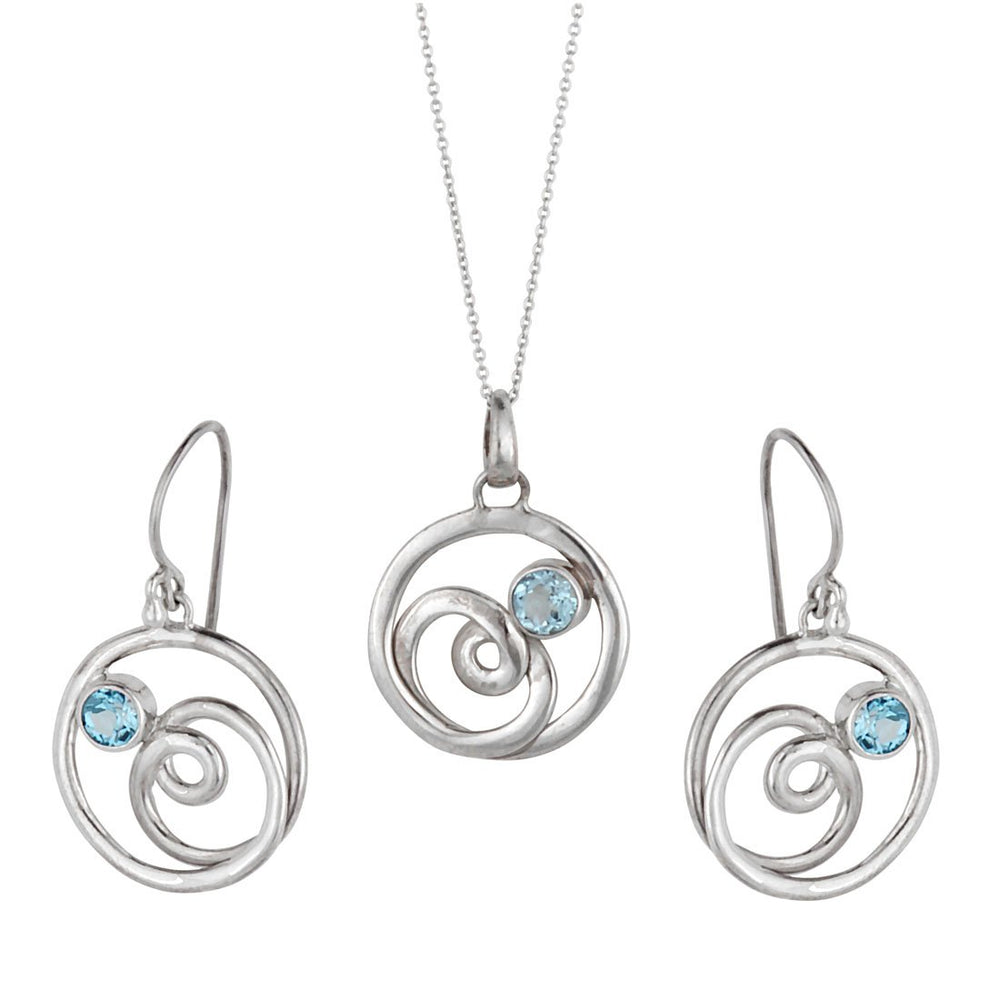 Load image into Gallery viewer, Sterling Silver Blue Topaz Swirl Jewellery Set