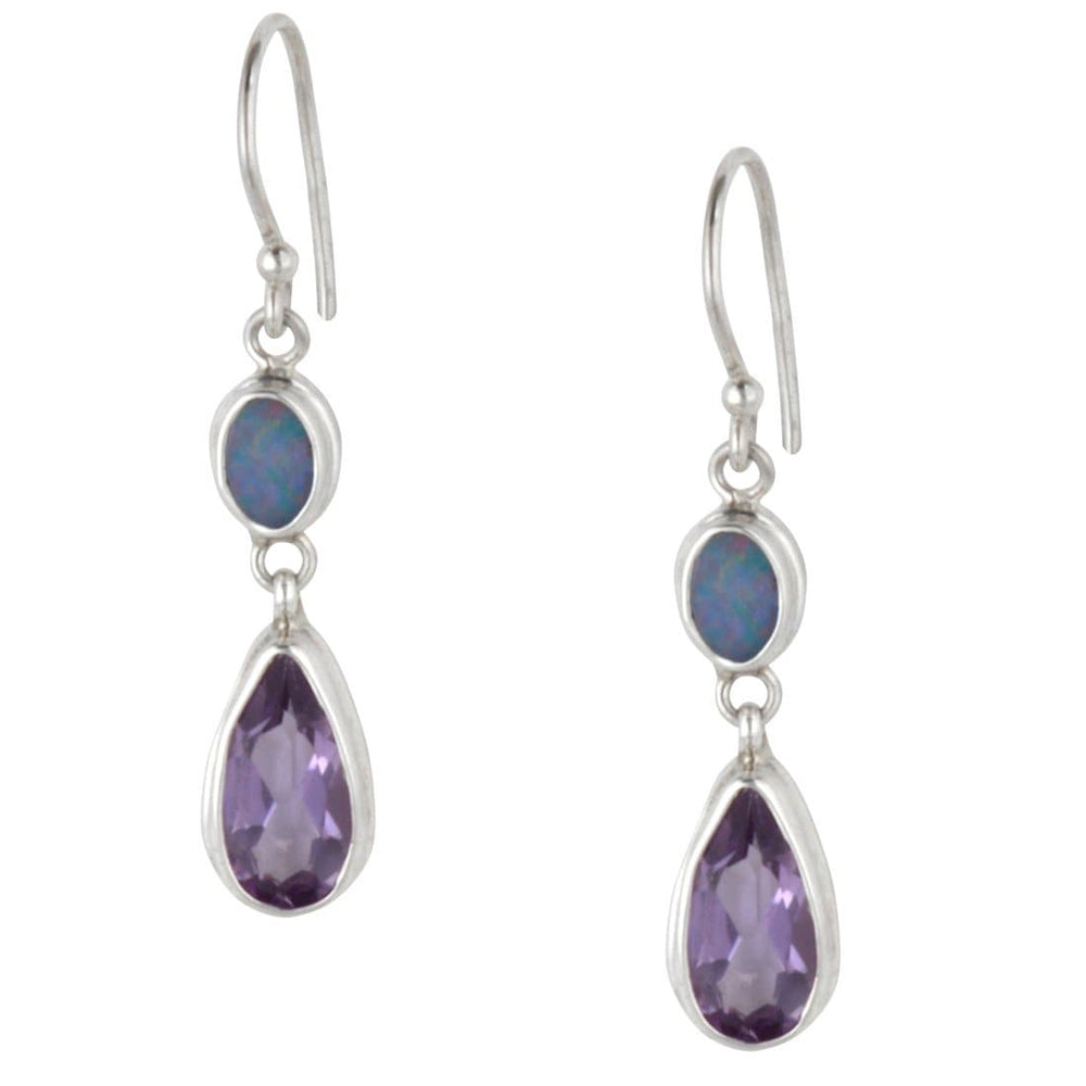 Load image into Gallery viewer, Sterling Silver Amethyst Opal Oval Teardrop Drop Earrings