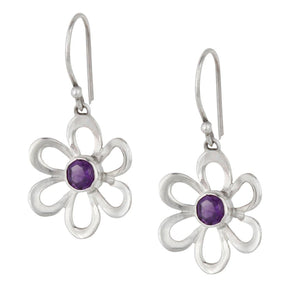 Sterling Silver Amethyst Gemstone Flower Dangle Earrings