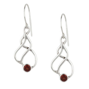 Load image into Gallery viewer, Sterling Silver Garnet Stone Swirl Twist Dangle Earrings