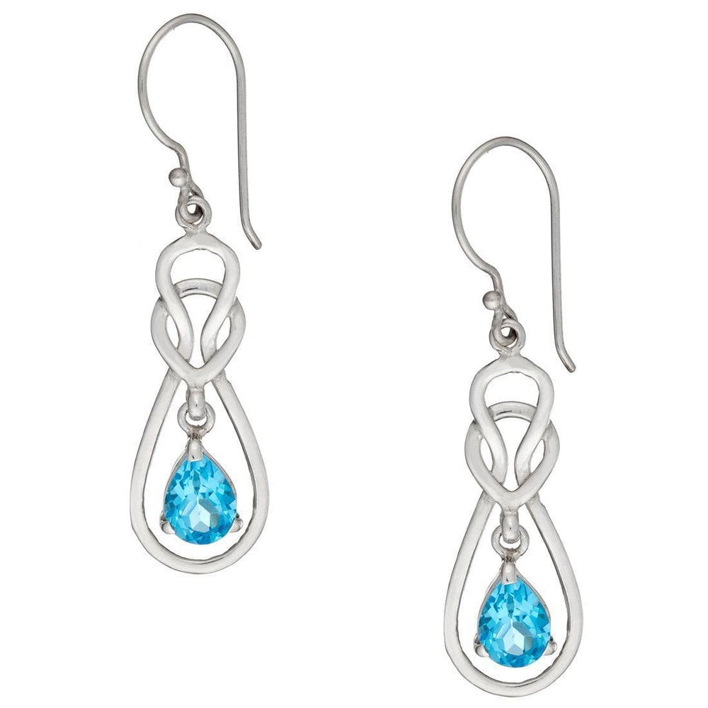 Sterling Silver Blue Topaz Teardrop Celtic Earrings