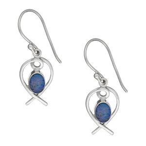 Sterling Silver Blue Fire Opal Heart Earrings