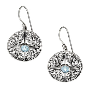 Sterling Silver Blue Topaz Round Filigree Cross Earrings
