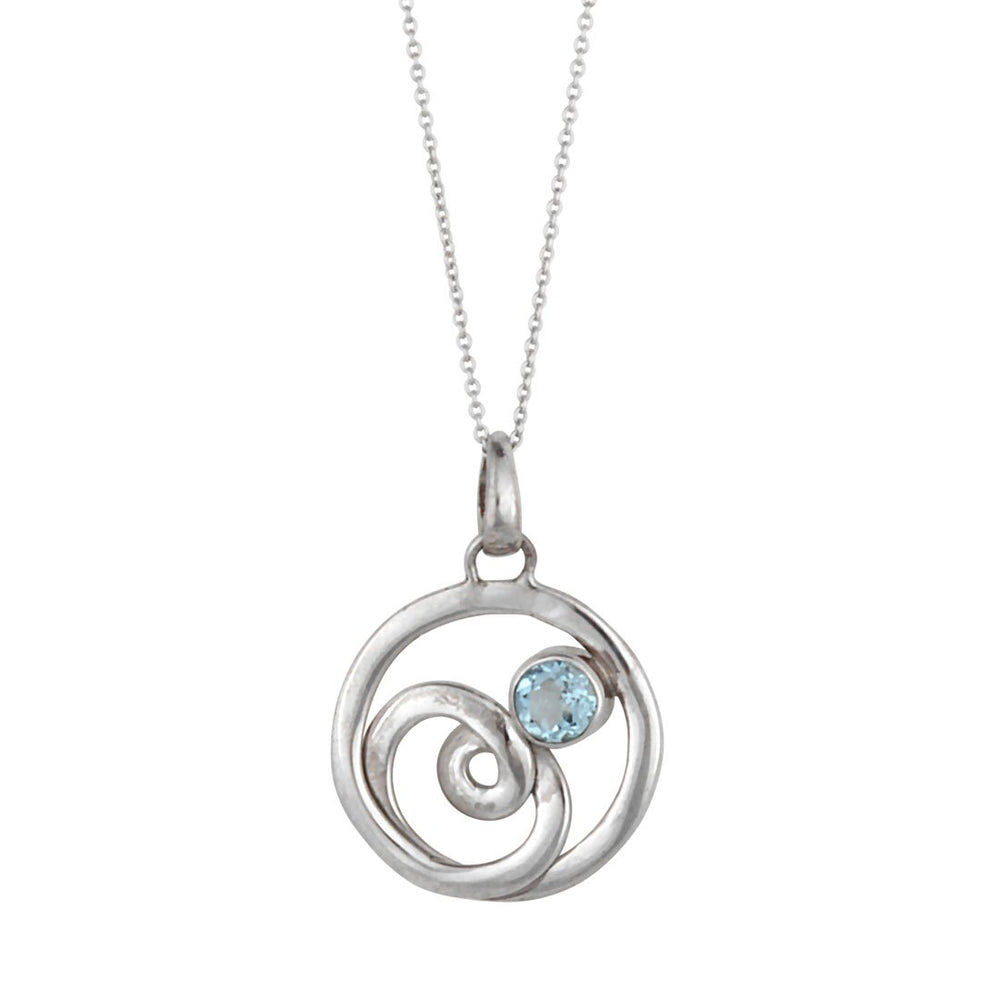 Sterling Silver Blue Topaz Circle Swirl Pendant Necklace