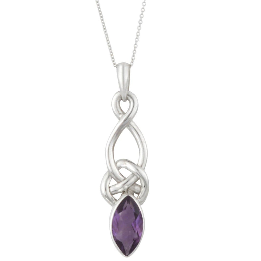 Sterling Silver Amethyst Marquise Celtic Pendant Necklace