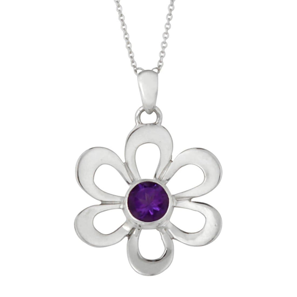 Load image into Gallery viewer, Sterling Silver Amethyst Purple Flower Pendant Necklace