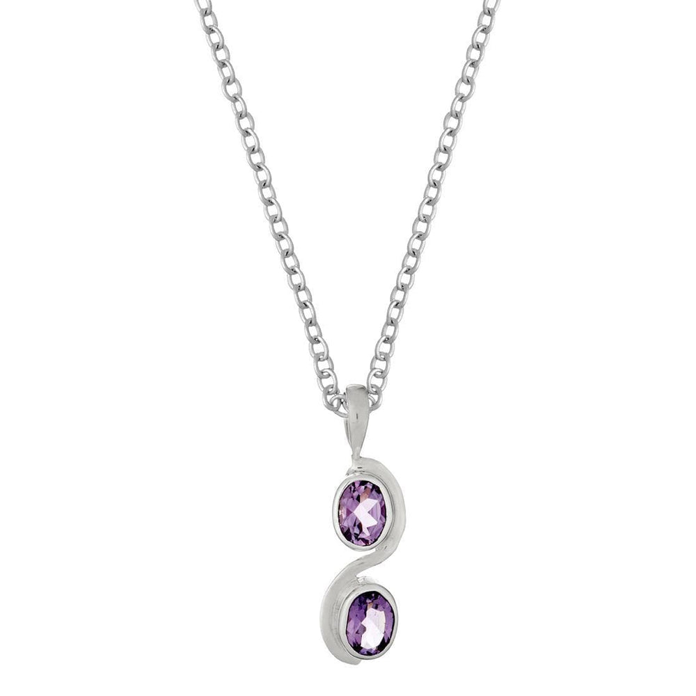 Sterling Silver Amethyst Oval Gemstone Pendant Necklace