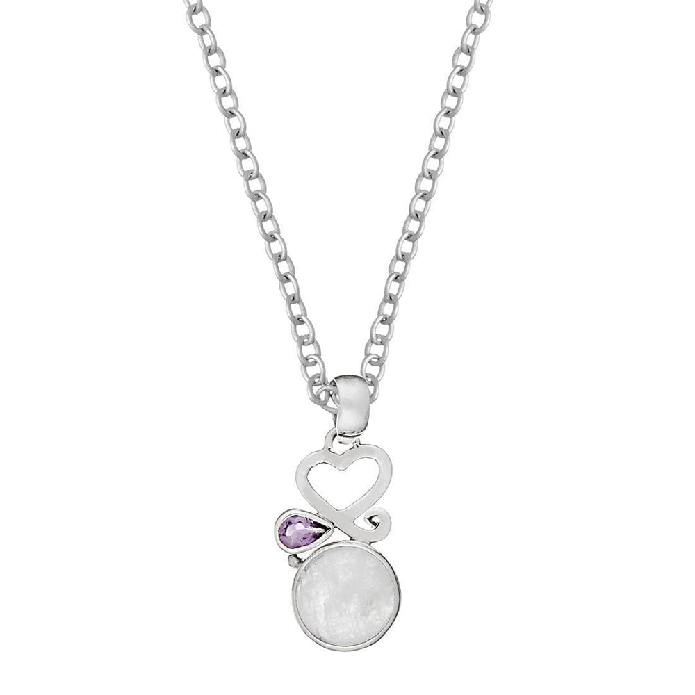 Load image into Gallery viewer, Sterling Silver Moonstone Amethyst Heart Pendant Necklace